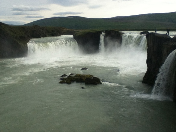 Godafoss, the falls of the Gods, so named because an Icelandic chieftain tossed his Norse god idols into the falls when he decided that Icelandic should be a Christian country.